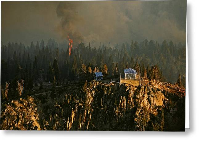 Firefighters Cover The Scott Mountain Greeting Card
