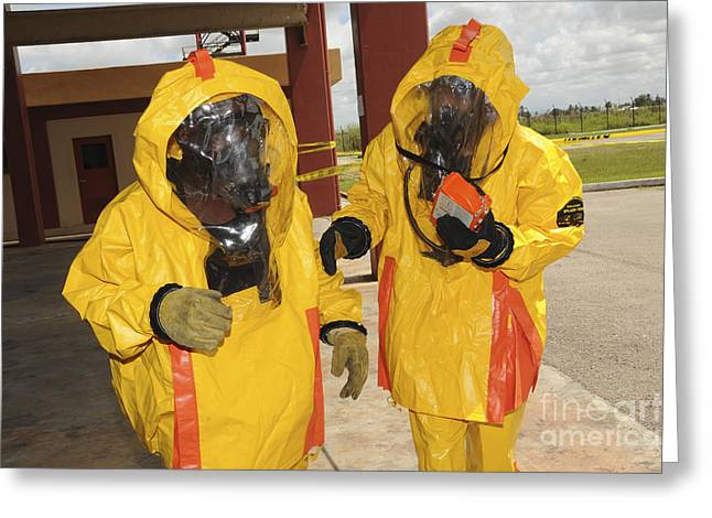 Firefighters Dressed In Hazmat Suits Greeting Card
