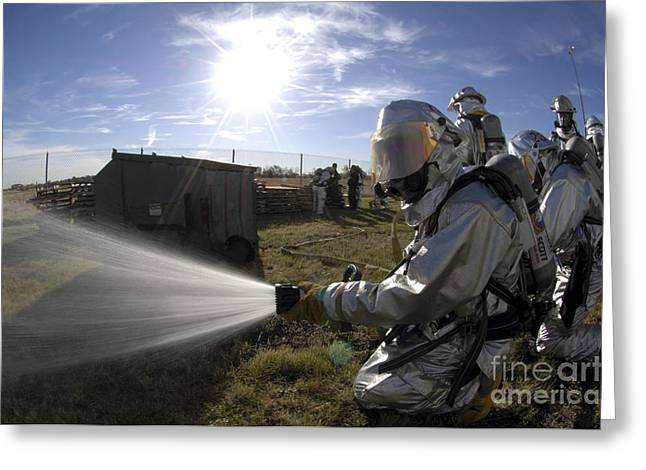 Firefighters Participate In A Fire Greeting Card by Stocktrek Images