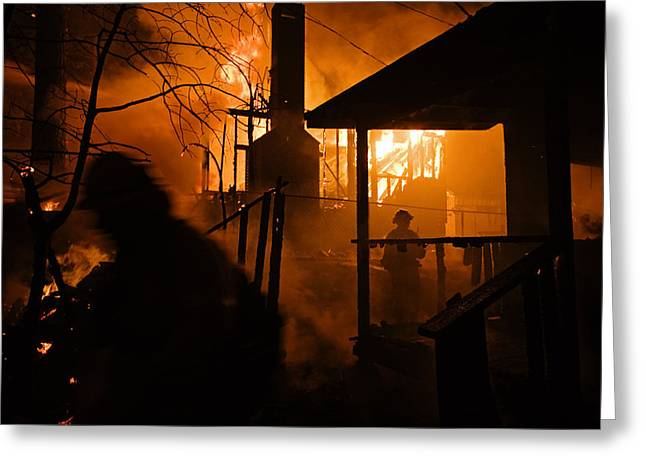 Firefighters Spray Down A Burning House Greeting Card by Mark Thiessen