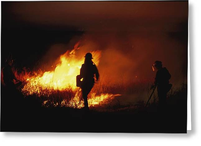 Firefighters Start A Controlled Fire Greeting Card by Joel Sartore