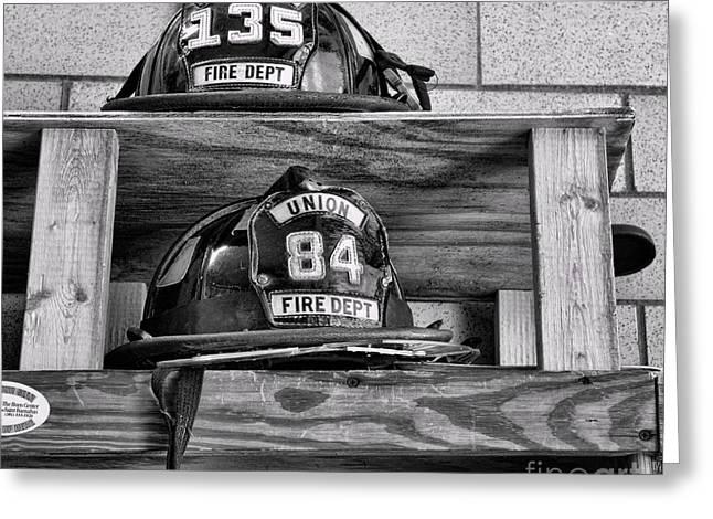 Fireman - Fire Helmets Greeting Card by Paul Ward