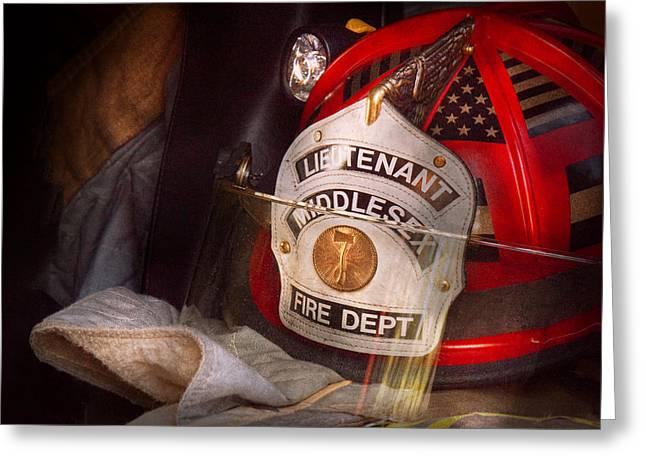 Fireman - Hat - The Lieutenants Cap  Greeting Card by Mike Savad