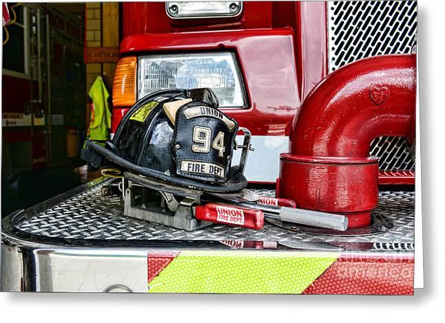 Fireman - Helmet Greeting Card by Paul Ward