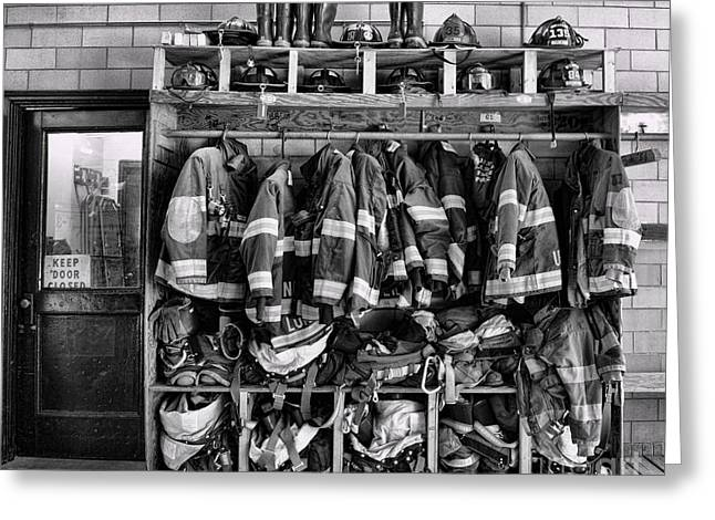 Fireman - Jackets Helmets And Boots Greeting Card by Paul Ward