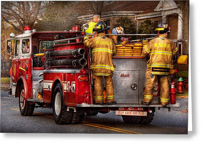 Fireman - Metuchen Fire Department  Greeting Card by Mike Savad