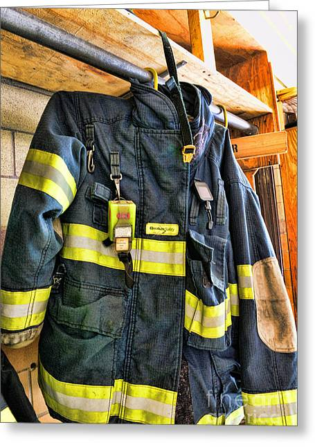 Fireman - Saftey Jacket Greeting Card by Paul Ward