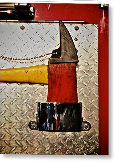 Fireman Grab That Ax Greeting Card by Odd Jeppesen