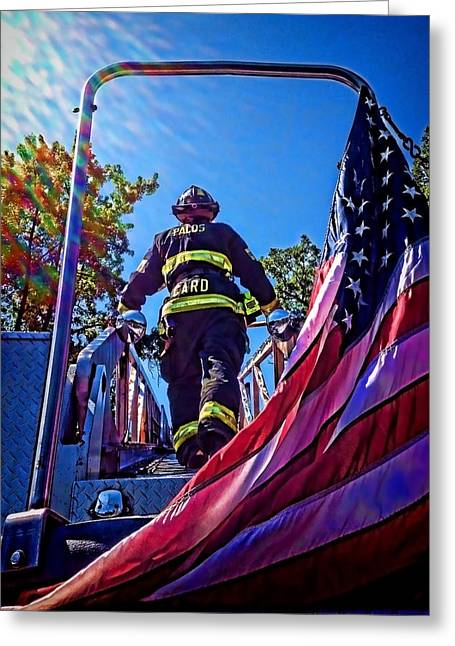 Firemen And Flag Greeting Card by Sven Brogren