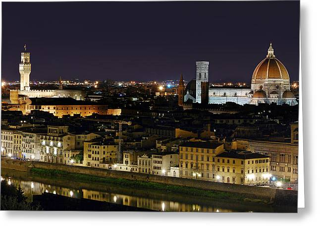 Firenze Skyline At Night - Duomo And Surroundings Greeting Card