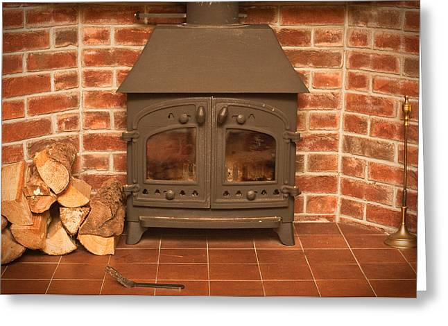 Fireplace Greeting Card by Tom Gowanlock