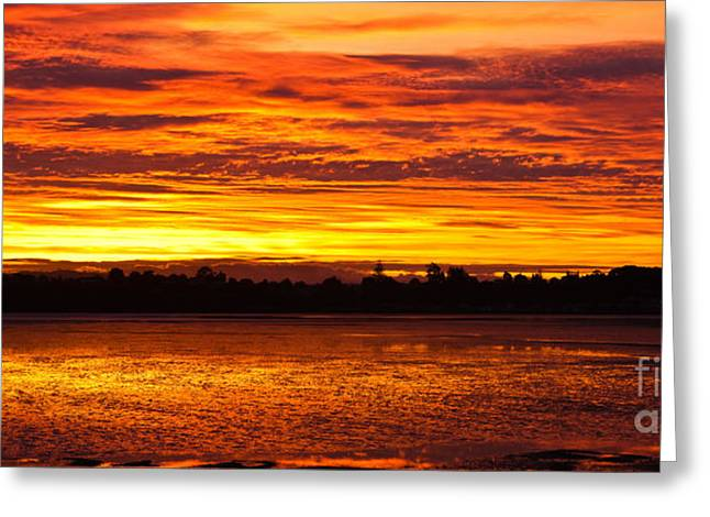 Firery Sunset Sky Greeting Card by John Buxton