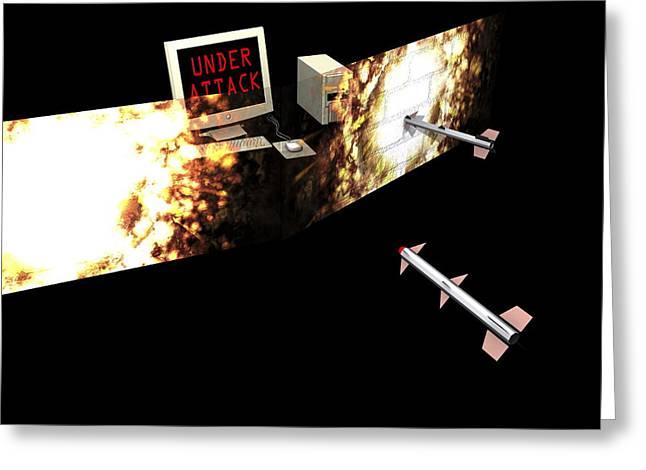 Firewall, Conceptual Computer Artwork Greeting Card by Christian Darkin