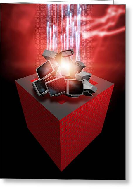 Firewall Protection, Conceptual Artwork Greeting Card by Victor Habbick Visions