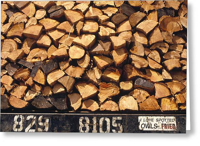 Firewood Hauled From Clearcut On Truck Greeting Card