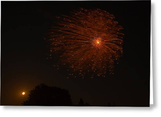 Greeting Card featuring the photograph Fireworks And Wildfire Moon by Tom Gort