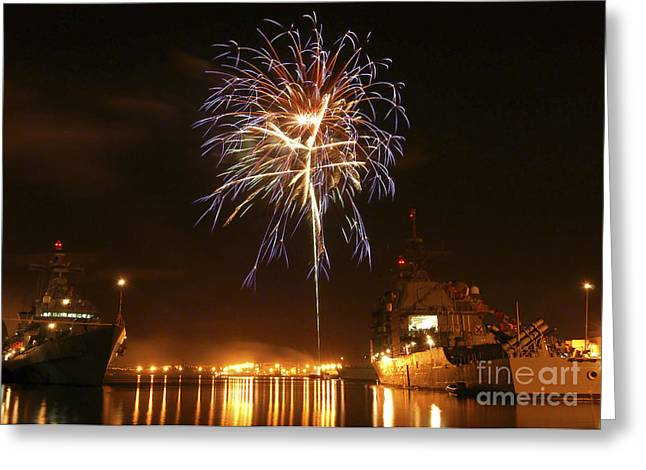 Fireworks Explode Over Ships Moored At Greeting Card