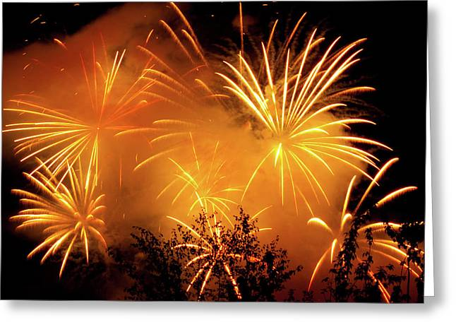Fireworks Finale Greeting Card by Stanley French