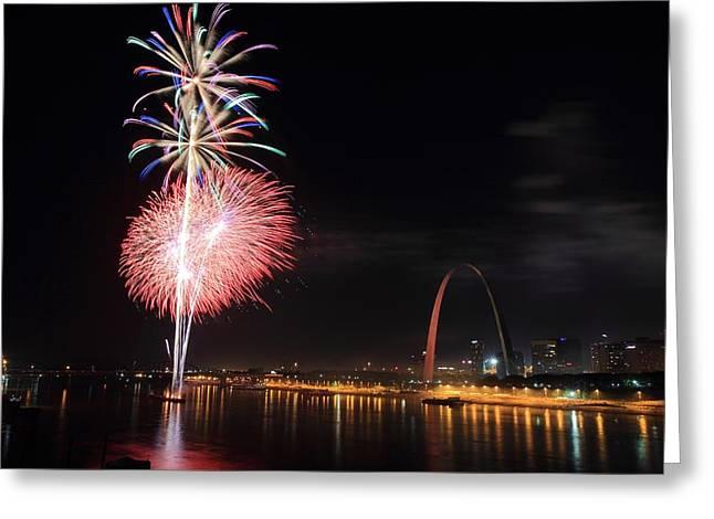 Fireworks From Eads Bridge In Saint Louis Greeting Card by Scott Rackers