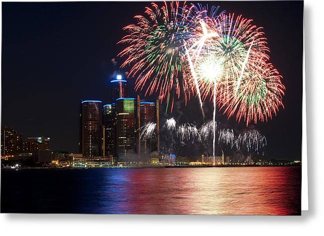 Fireworks Over Detroit Greeting Card