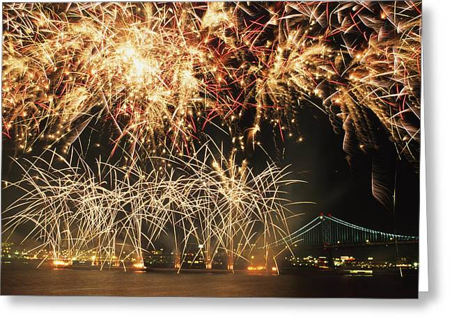 Fireworks Over Harbour Greeting Card by Axiom Photographic