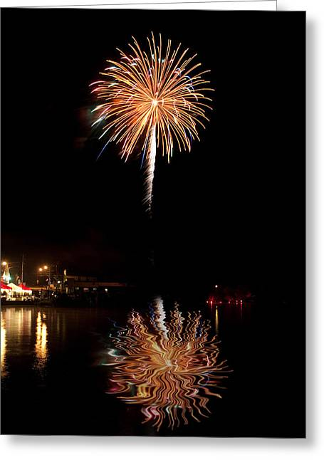 Greeting Card featuring the photograph Fireworks Over Lake by Cindy Haggerty