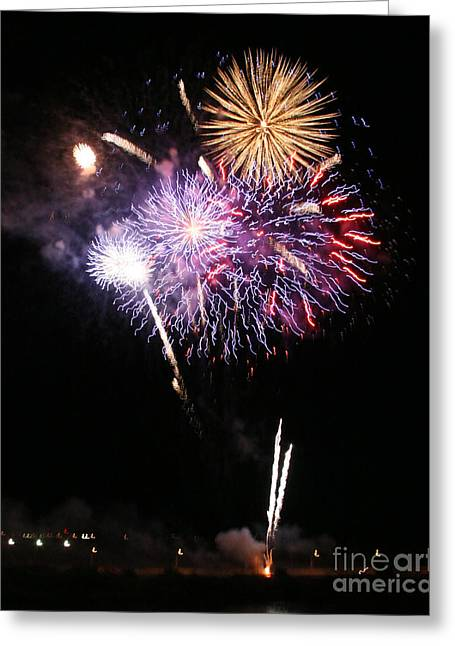 Fireworks Over The River Greeting Card by Kenny Bosak
