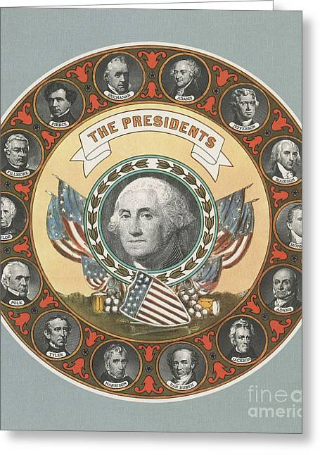 First 15 U.s. Presidents Greeting Card by Photo Researchers