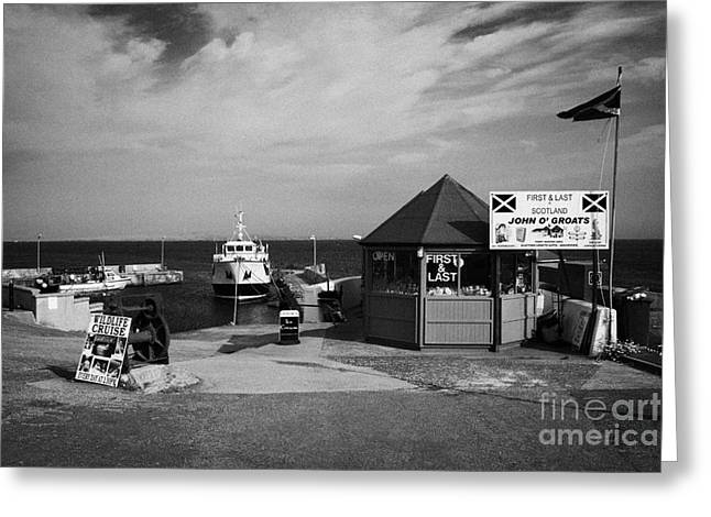 first and last shop and John OGroats harbour with orkney ferry scotland uk Greeting Card by Joe Fox