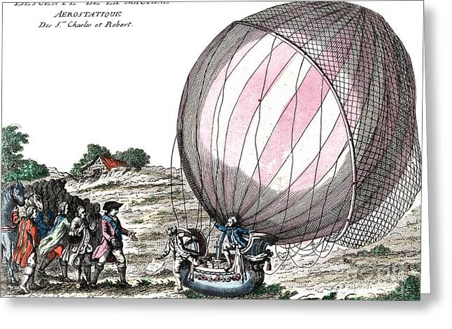 First Manned Hydrogen Balloon Flight Greeting Card by Photo Researchers