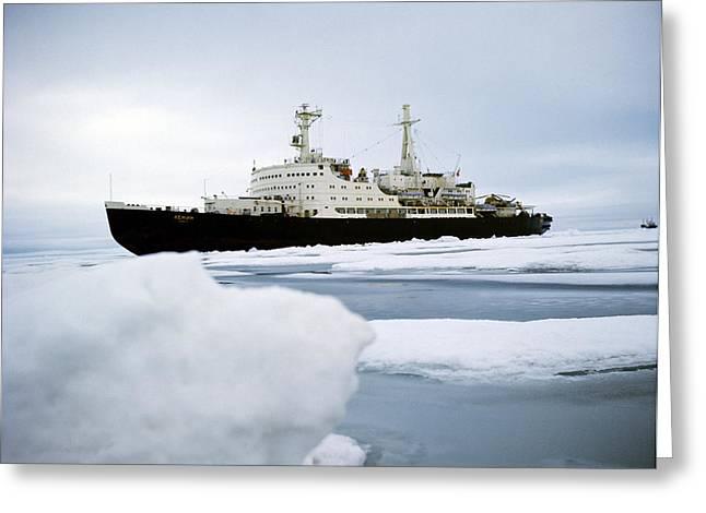 First Nuclear-powered Ship, Ns Lenin Greeting Card by Ria Novosti