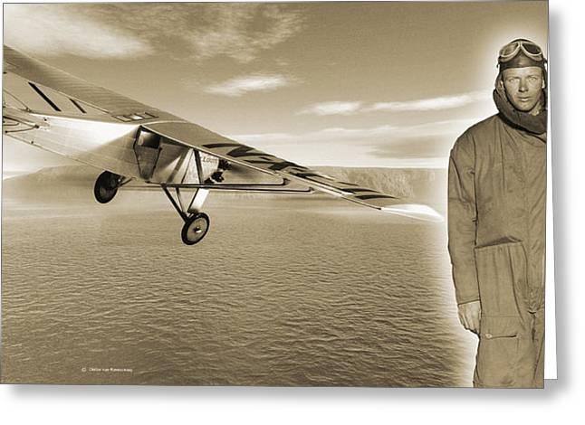 First Solo Transatlantic Flight, 1927 Greeting Card by Detlev Van Ravenswaay