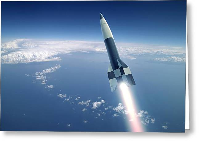 First V-2 Rocket Launch, Artwork Greeting Card by Detlev Van Ravenswaay