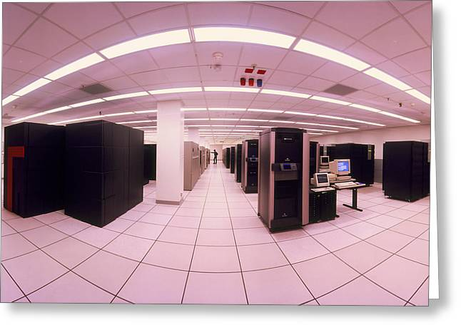 Fish-eye Lens View Of Nersc's Main Computing Room Greeting Card by David Parker