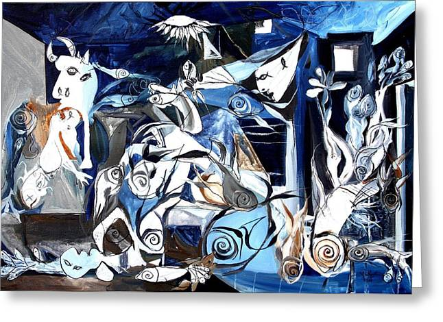 Fish Guernica Greeting Card by J Vincent Scarpace