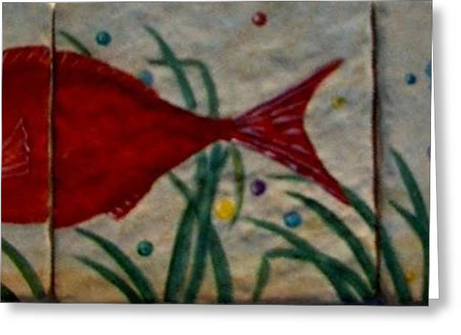 Fish In A Sea Of Colored Bubbles Greeting Card by Sandra Maddox