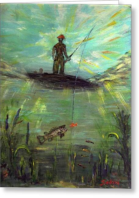 Fish Perspective  Greeting Card by Mary Sedici
