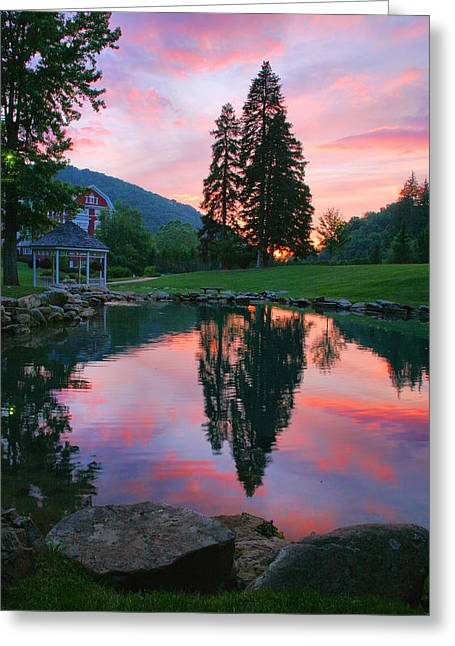 Fish Pond At Sunset I Greeting Card by Steven Ainsworth