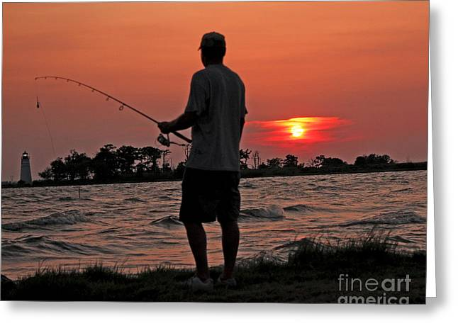 Greeting Card featuring the photograph Fisherman And Lighthouse Sunset by Luana K Perez