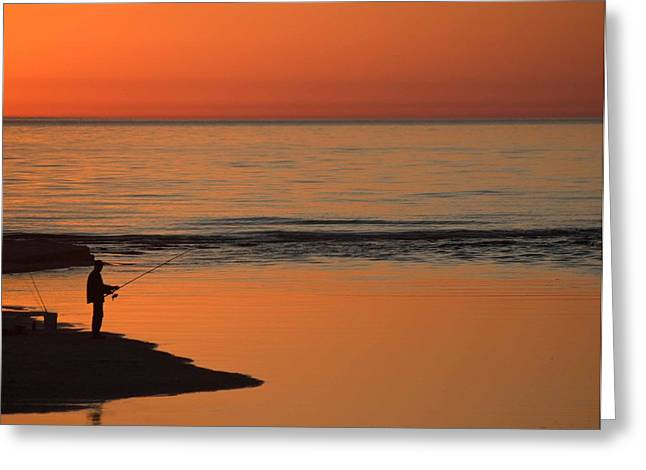 Fisherman At Sunset Greeting Card by Twenty Two North Photography