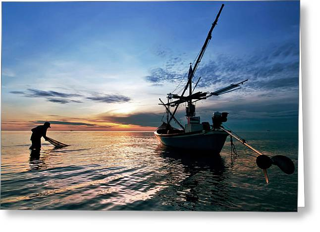 Fisherman Life Huahin Thailand Greeting Card by Arthit Somsakul