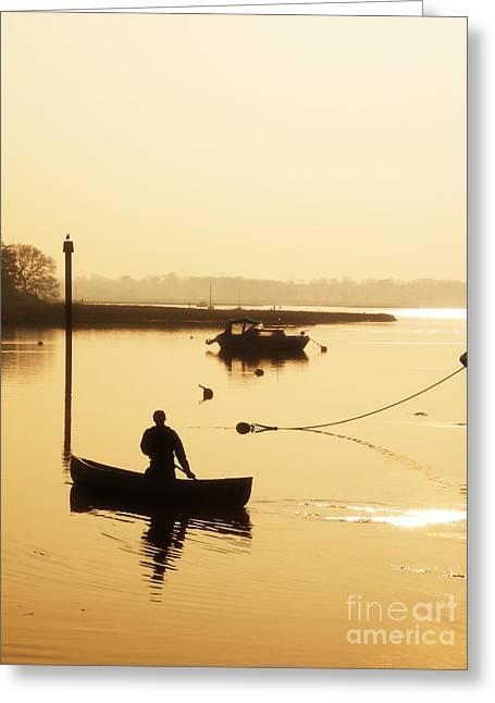 Fisherman On Lake Greeting Card by Pixel Chimp