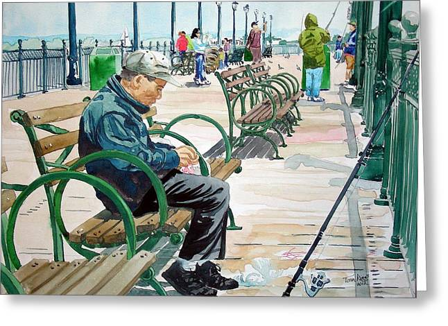 Greeting Card featuring the painting Fisherman San Francisco by Tom Riggs