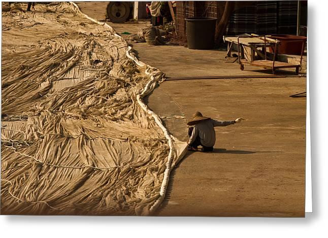 Fisherman Sewing Net Greeting Card