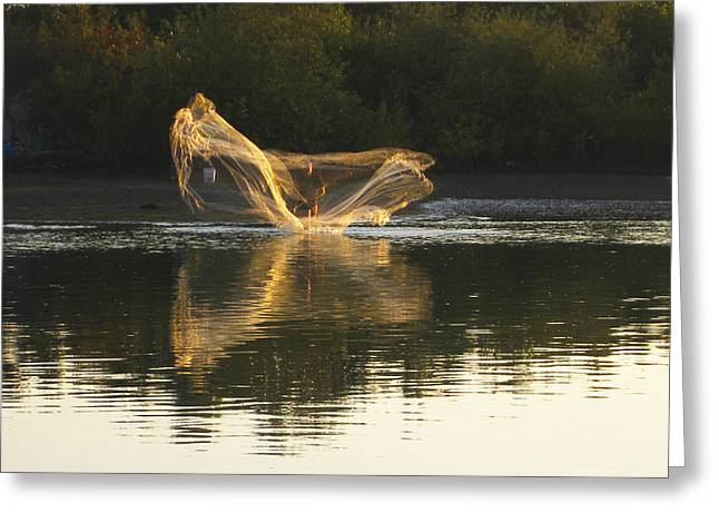 Greeting Card featuring the digital art Fisherman Throwing His Net by Anne Mott