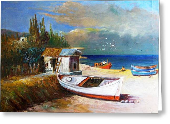 Fisherman's Cottage Greeting Card by George Siaba