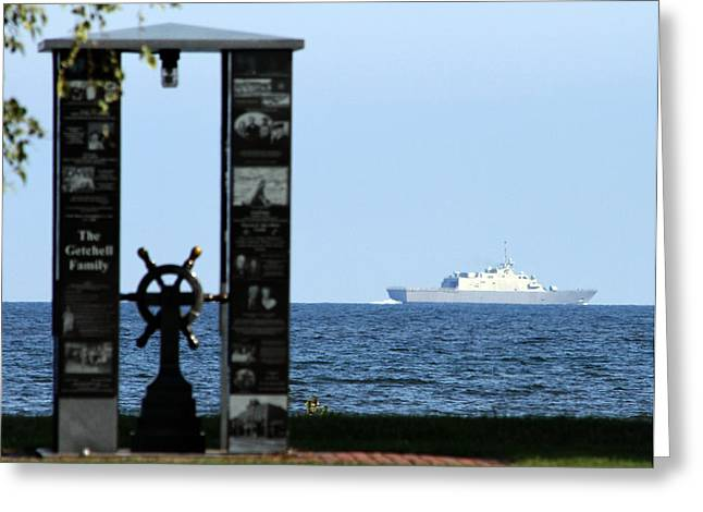 Greeting Card featuring the photograph Fishermans' Memorial At Red Arrow Park And Lcs3 Uss Fort Worth by Mark J Seefeldt