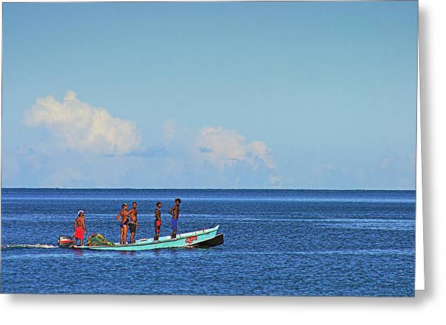 Fishermen And Canoe- St Lucia Greeting Card by Chester Williams