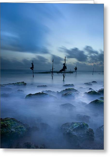 Fishermen At Blue Hour Greeting Card