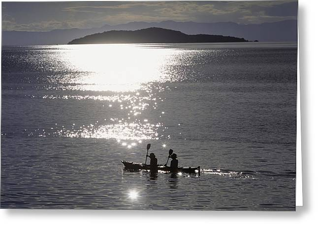 Fishermen Going Past The Island Of Greeting Card